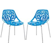Modway Stencil EEI-1317-BLU Set of 2 Plastic Dining Chairs, Blue
