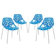 Modway Stencil EEI-1318-BLU Set of 4 Plastic Dining Chairs, Blue