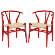 Modway Amish EEI-1319 Set of 2 Wood Dining Chairs, Red