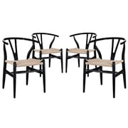 Modway Amish EEI-1320 Set of 4 Wood Dining Chairs, Black