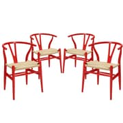 Modway Amish EEI-1320 Set of 4 Wood Dining Chairs, Red