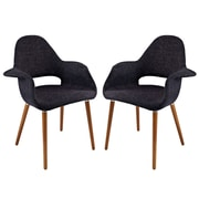 Modway Taupe EEI-1329 Set of 2 Wood Dining Chairs, Black