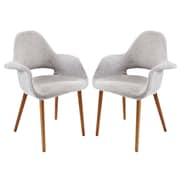 Modway Taupe EEI-1329 Set of 2 Wood Dining Chairs, Light Gray