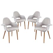 Modway Taupe EEI-1330 Set of 4 Wood Dining Chairs, Light Gray