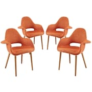 Modway Taupe EEI-1330 Set of 4 Wood Dining Chairs, Orange