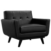 Modway Engage EEI-1336-BLK Wood/Leather Armchair, Black