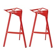 """Modway EEI-1362-RED Set of 2 32.5"""" Launch Bar Stool, Red"""