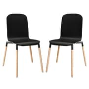 Modway Stack Wood EEI-1372 Set of 2 Wood Dining Chairs, Black