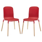 Modway Stack Wood EEI-1372 Set of 2 Wood Dining Chairs, Red