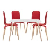 Modway Stack Wood EEI-1375 Set of 5 Wood Dining Chairs and Table, Red