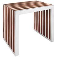 Modway Gridiron EEI-1429-WAL Walnut Wood Bench, Small
