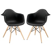 Modway Pyramid EEI-929-BLK Set of 2 Wood Dining Chairs,Black