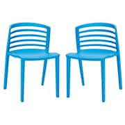 Modway Curvy EEI-935 Set of 2 Plastic Dining Chairs, Blue