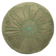 Casablanca Market Moroccan Suede Leather Pouf Ottoman; Lime green
