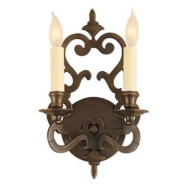 JVI Designs 2 Light Wall Sconce; Rubbed brass