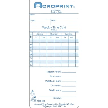 Acroprint ATR240 / 360 Weekly/Bi-weekly Time Cards
