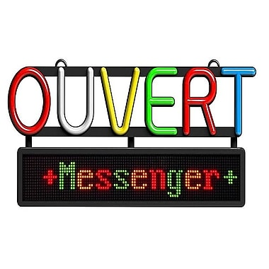 Royal Sovereign Open Sign With Scrolling Messenger, French
