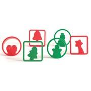 Pavoni - Emporte-pièces de Noël, 6 formes 2,8 po x 2,8 po x 0,8 po, rouge/vert, paq./12