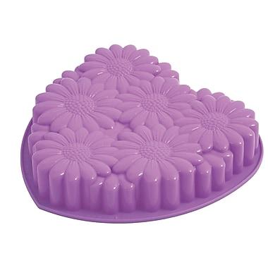 Pavoni - Moule à gâteau en silicone platine Bouquet en forme de cœur, 11,6 po x 11,2 po x 2 po, violet
