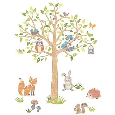WALL POPS!MD – Super trousse d'art mural « Woodland Tree », 87 autocollants