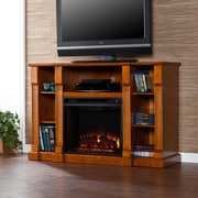 Wildon Home   Caswell 52'' TV Stand with Electric Fireplace; Glazed Pine