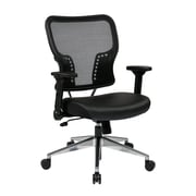 Space Seating Air Grid Back and Padded Eco Leather Seat Managers Chair, Black