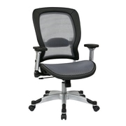 Space Seating Air Grid Mesh Computer and Desk Office Chair, Fixed Arms, Gray/Silver (327-66C61F6)