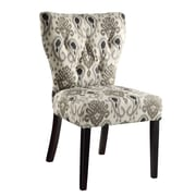 Ave Six Andrew Solid Wood & Fabric Chair, Medallion Ikat Gray
