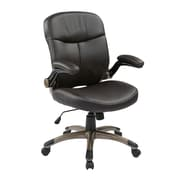 Work Smart Mid Back Eco Leather Executive Chair, Espresso & Cocoa