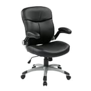 Work Smart Mid Back Eco Leather Executive Chair, Black & Silver