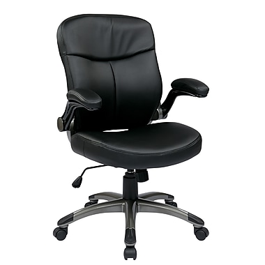 WorkSmart Executive Mid Back Eco Leather Chair with Padded Flip Arms, Black