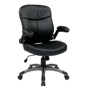 Work Smart Mid Back Eco Leather Executive Chair, Black & Titanium