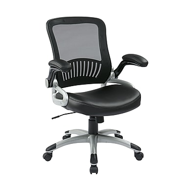 WorkSmart Screen Back and Eco Leather Seat Manager's Chair, Black