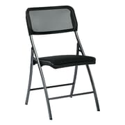 Work Smart Folding Chair with Screen Seat, Metal Folding Chair Titanium, 2/Pack