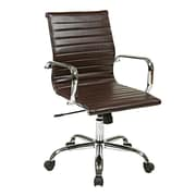 Work Smart Thick Padded Aluminum & Leather Chair, Espresso