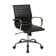 Work Smart Thick Padded Aluminum & Leather Chair, Black