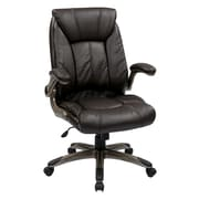 Office Star FLH24981-U1 Work Smart Faux Leather Mid-Back Managers Chair with Adjustable Arms, Espresso