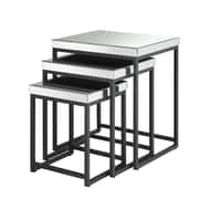 "OSP Designs 24.5"" x 21.5"" Mirrored & Steel Nesting Tables"