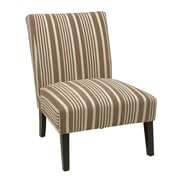 Ave Six Victoria Fabric & Wood Chair, Mocha Stripe