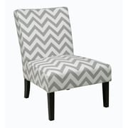 Ave Six Victoria Fabric & Wood Chair, Zig Zag Grey