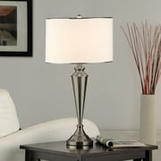 InRoom Designs Contemporary 29'' H Table Lamp with Drum Shade (Set of 2); Brushed Nickel
