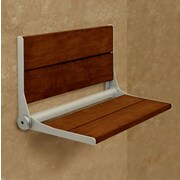 HealthCraft Invisia SerenaSeat Fold-Away Brazilian Walnut Shower Seat; Brushed Nickel