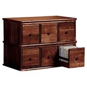 Leslie Dame Apothecary Modular Multimedia Tabletop 6 Drawer Storage Rack; Walnut