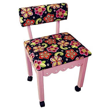 Arrow Sewing Chair with Underseat Storage; Pink