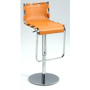 Chintaly Adjustable Height Swivel Bar Stool with Cushion; Camel