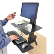 Ergotron® 1/4 x 23 WorkFit-S Sit-Stand Workstation With Worksurface For Standard Monitors, Black