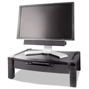 Kantek Wide Two-Level Height-Adjustable Stand With Drawer, Black