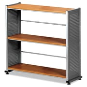 "Mayline® Eastwinds™ Accent Shelving With 3-Shelves, 31"" x 31 1/4"" x 11"", Medium Cherry/Metallic Gray"