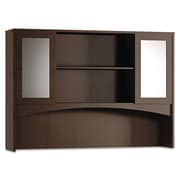 Mayline® Brighton 50 1/2 x 72 Double-Height Laminated Wood Hutch With Glass Door, Mocha