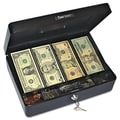PM® Company PMC04804 Cash Box With 5 Compartments, Black/Silver